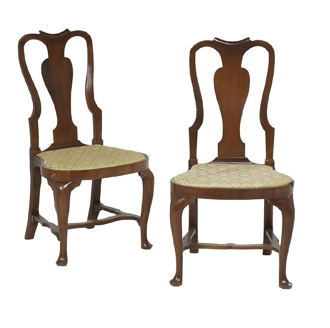 Pair of American Queen Anne Walnut Side Chairs