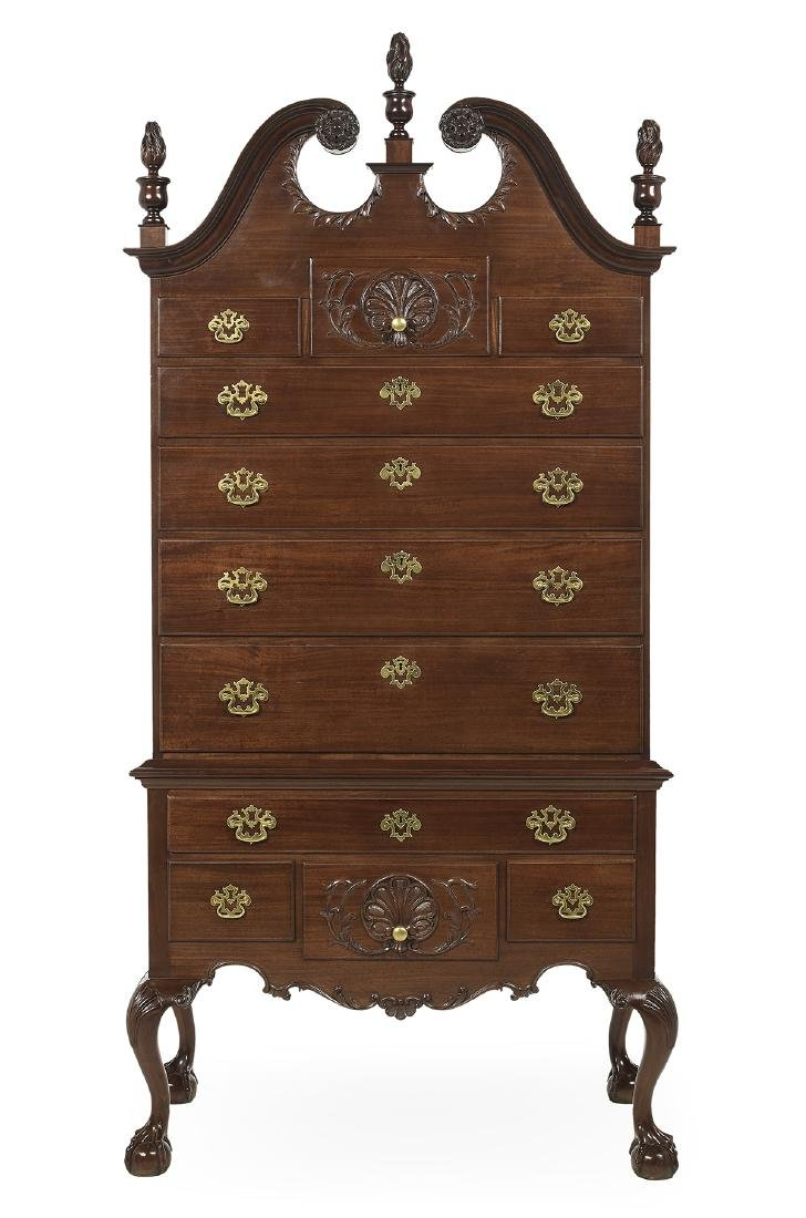 American Chippendale-Style Mahogany High Chest