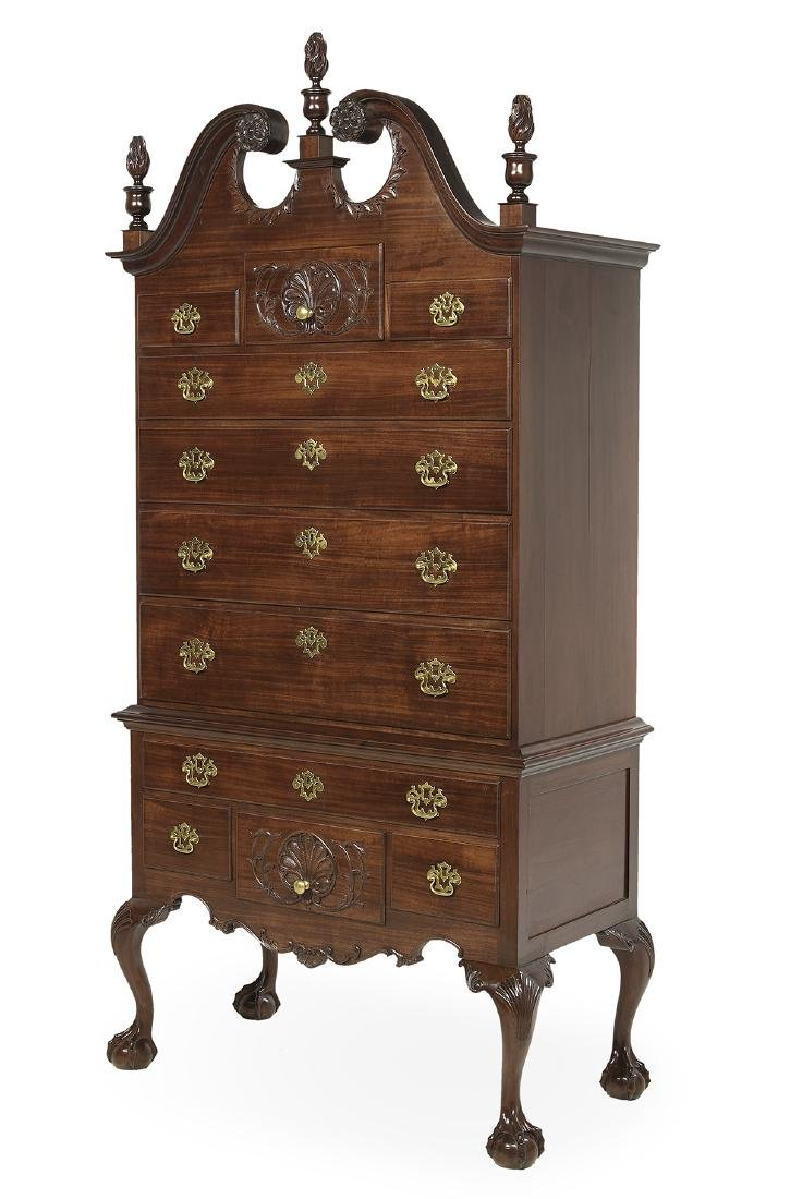 American Chippendale-Style Mahogany High Chest - 2
