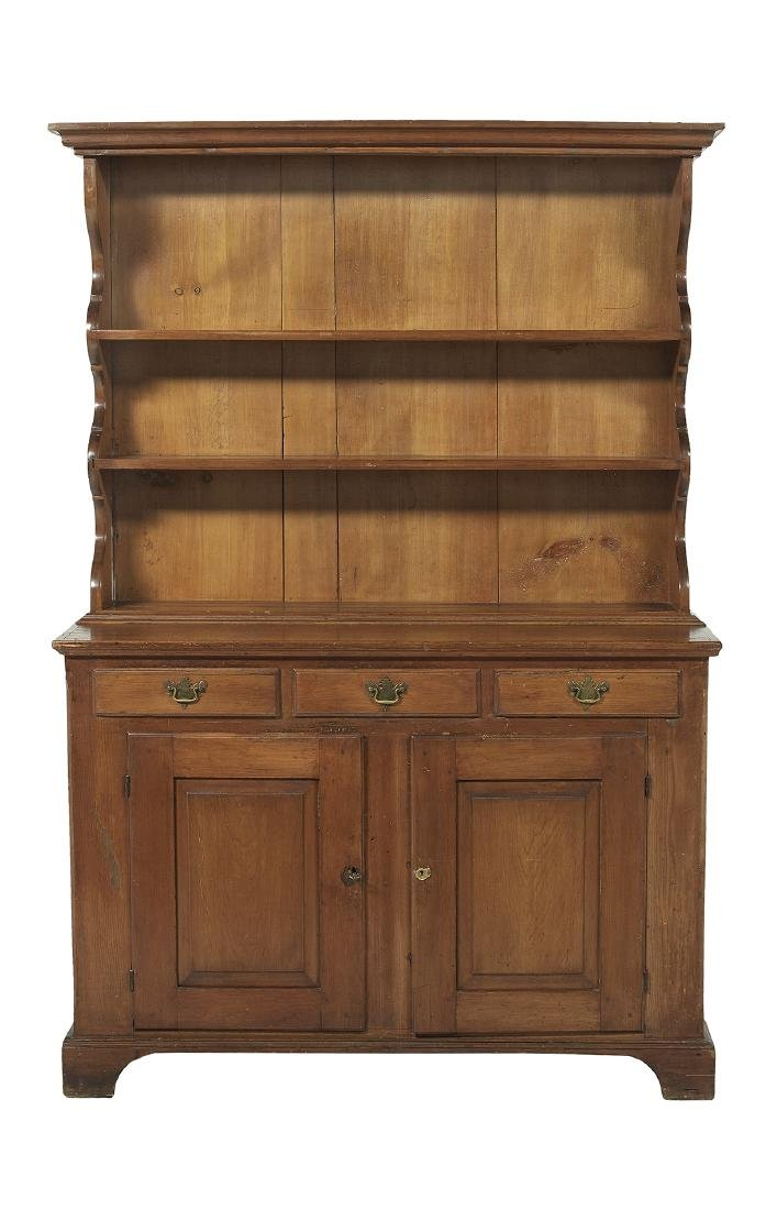 Early American Pine Step-back Pewter Cupboard