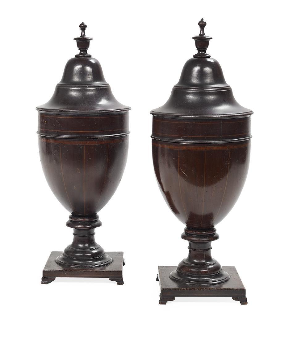 Pair of Colonial Revival Mahogany Knife Urns