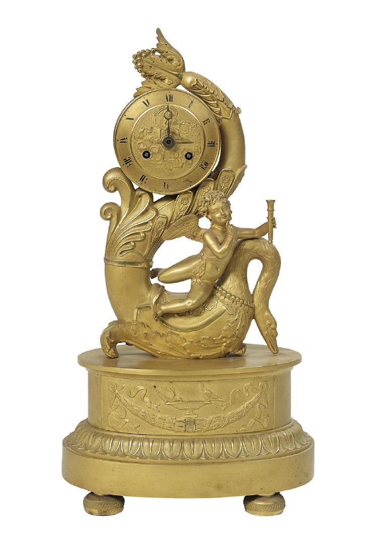 French Empire Gilt-Bronze Clock by Deniere Pere