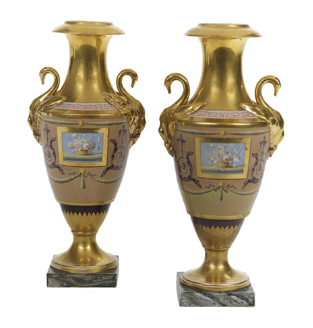 Pair of Paris Porcelain Urns Decorated by Halley