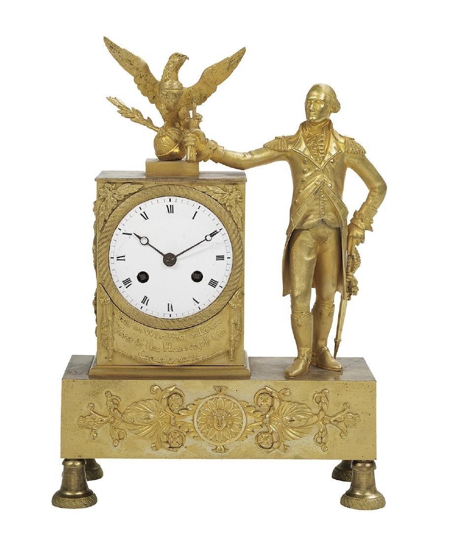 Bronze Dore George Washington Mantel Clock