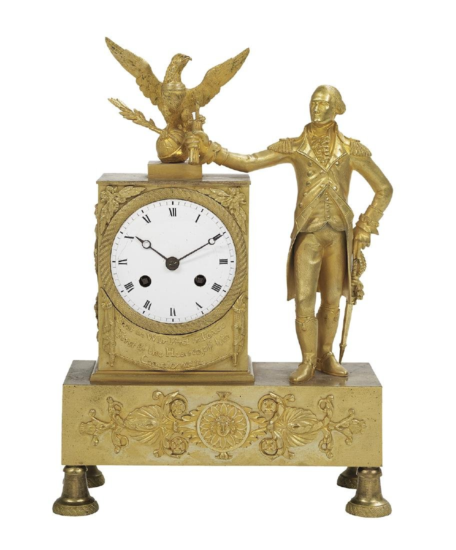 Bronze Dore George Washington Mantel Clock
