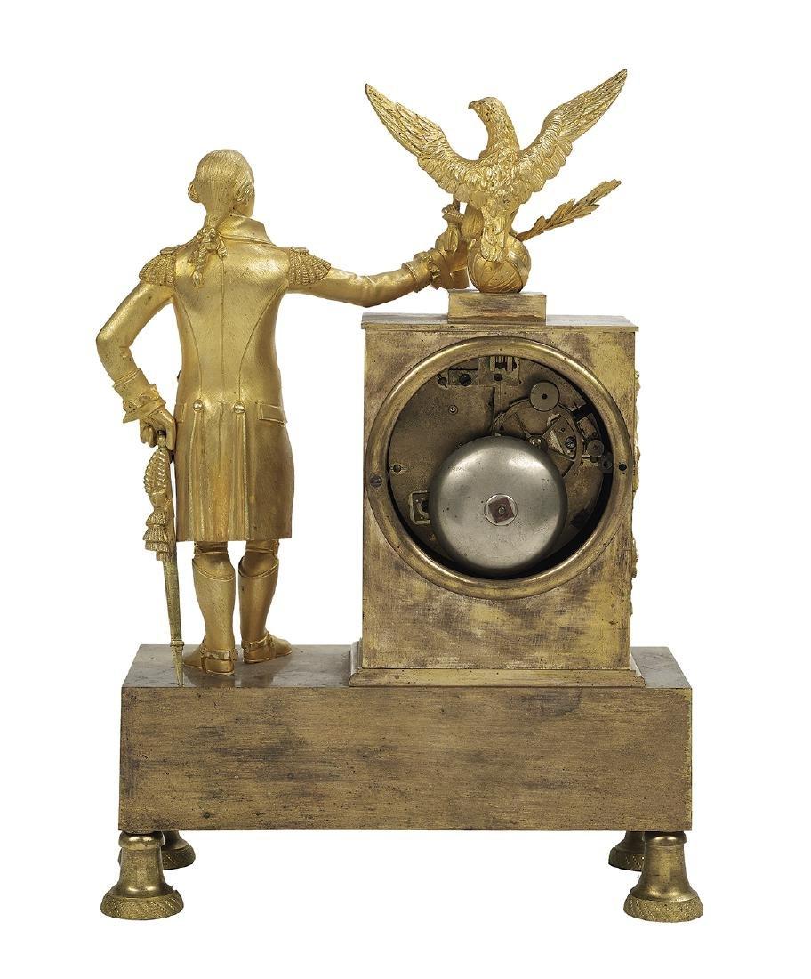 Bronze Dore George Washington Mantel Clock - 2