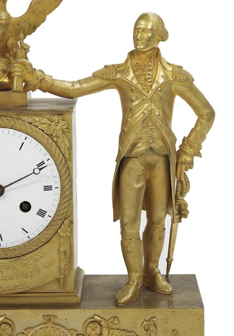 Bronze Dore George Washington Mantel Clock - 5