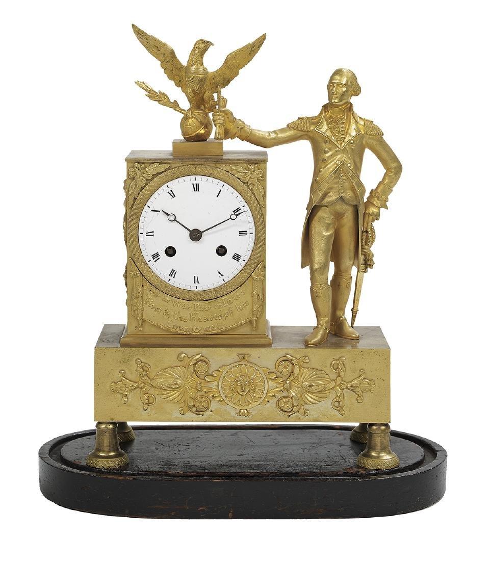 Bronze Dore George Washington Mantel Clock - 6