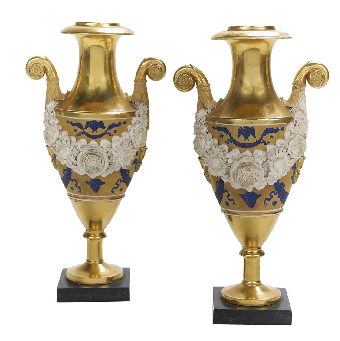 Pair of Paris Porcelain Urns Attributed to Dagoty