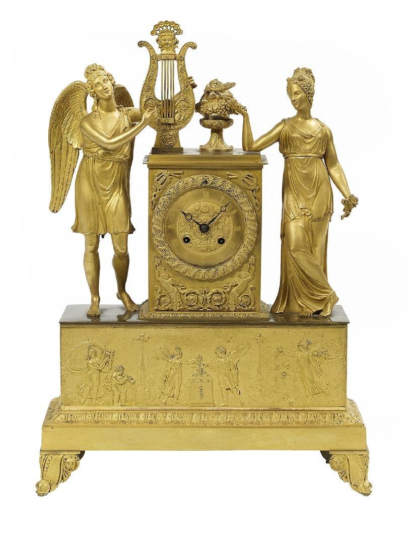 French Empire Bronze Dore Figural Mantel Clock
