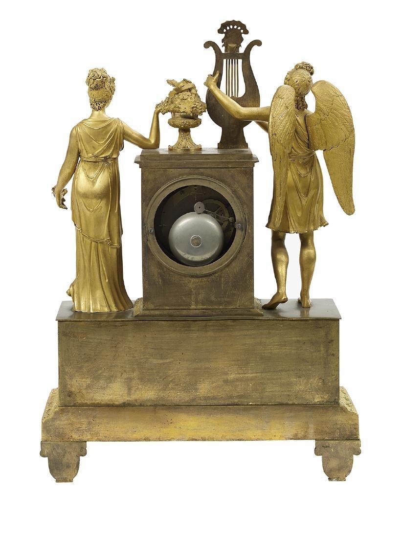 French Empire Bronze Dore Figural Mantel Clock - 2