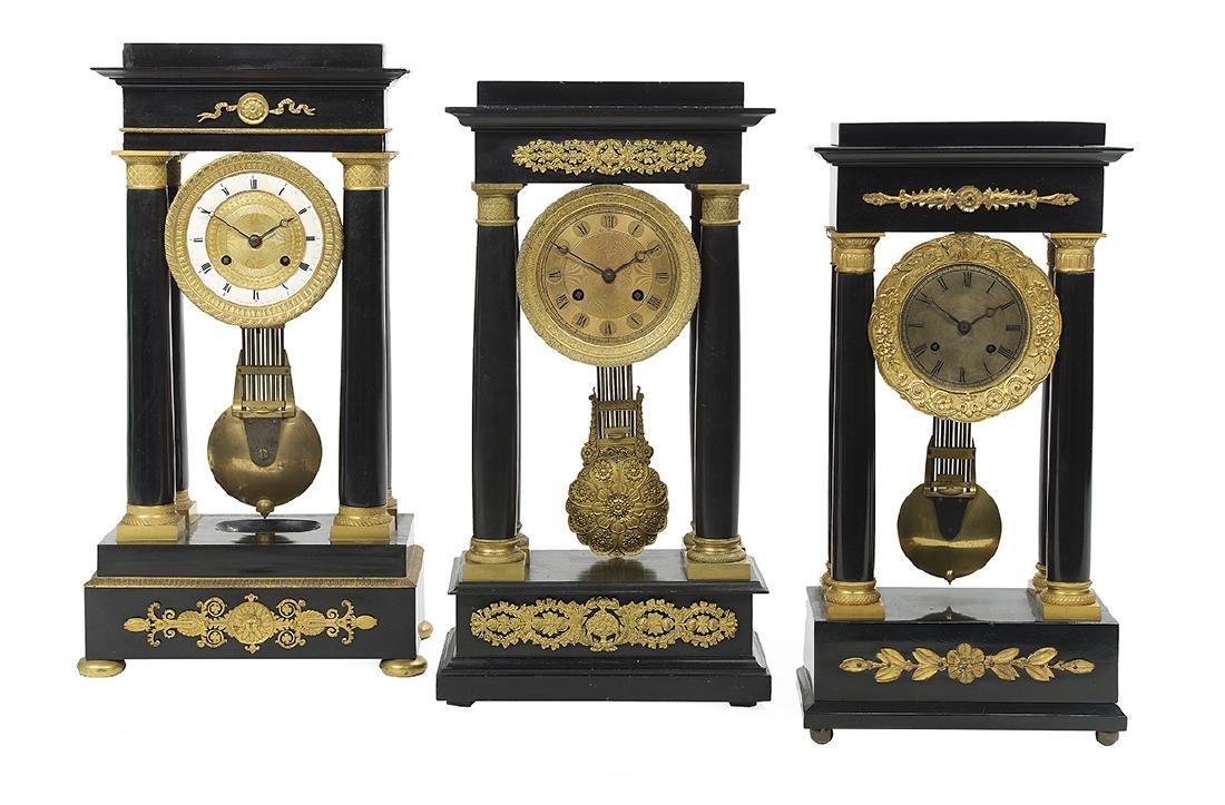 Collection of Three Louis-Philippe Portico Clocks