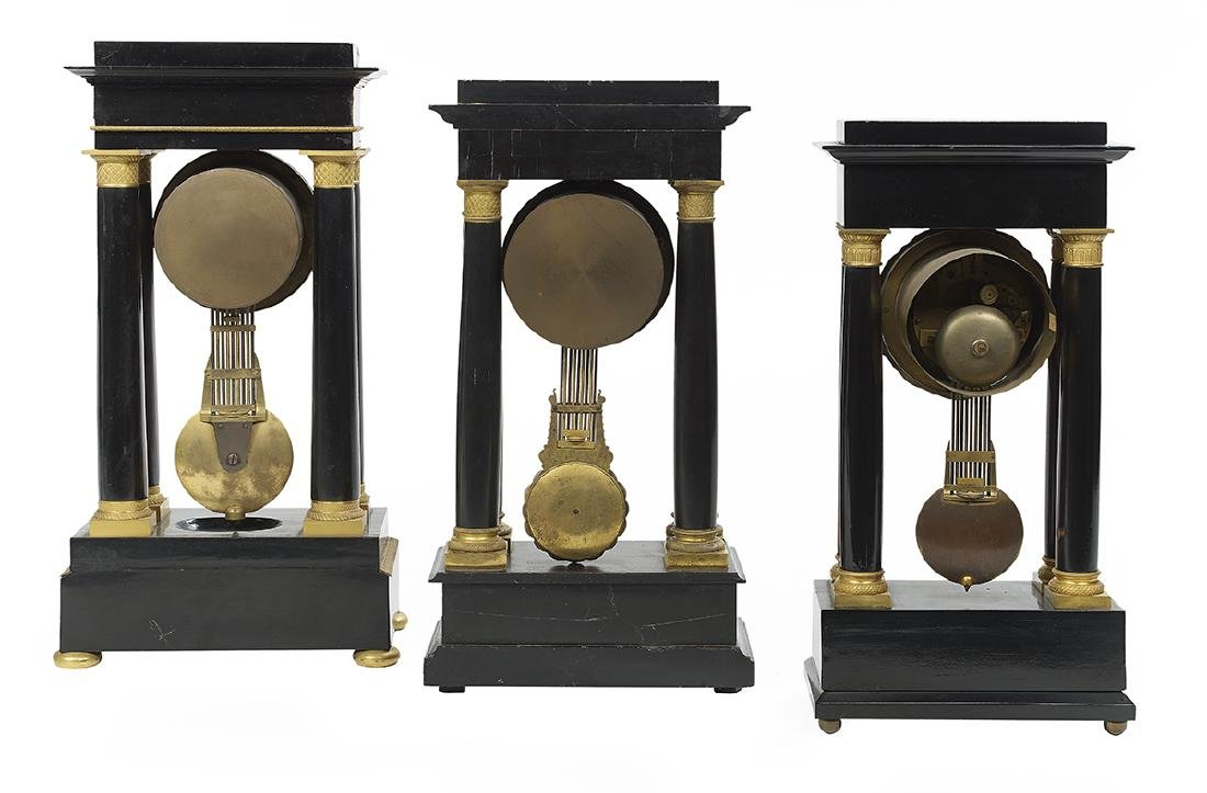 Collection of Three Louis-Philippe Portico Clocks - 2