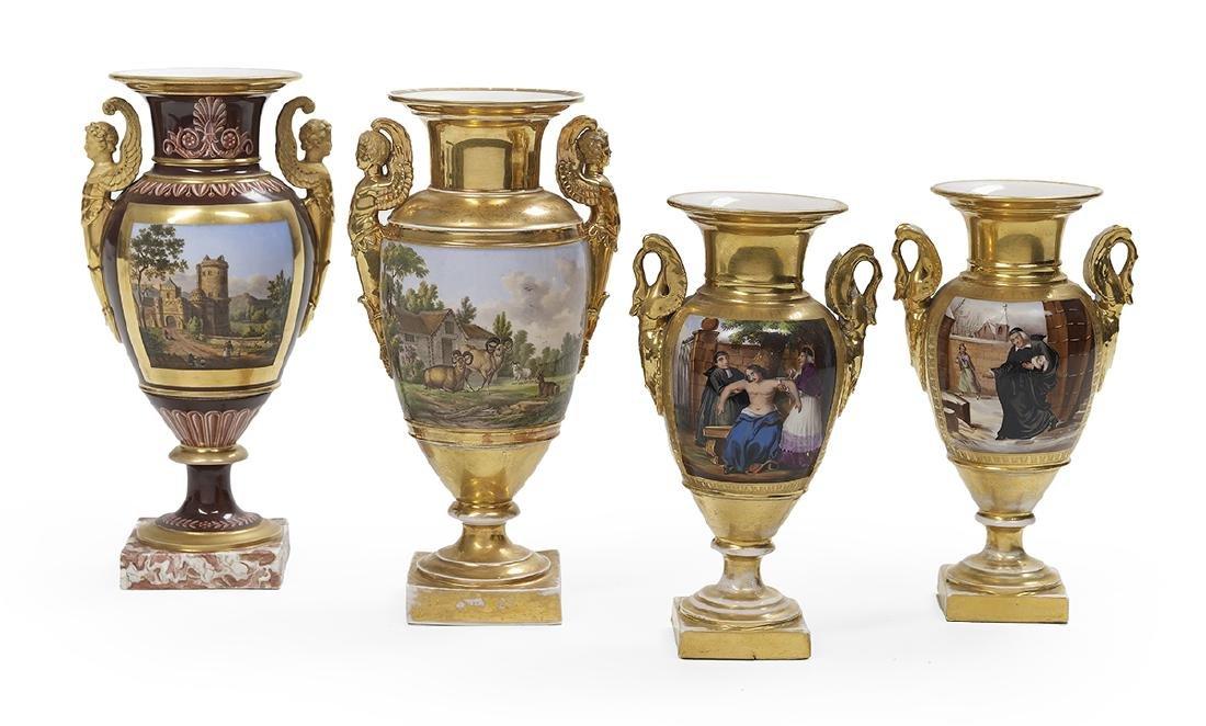 Four Handsome Paris Porcelain Garniture Vases