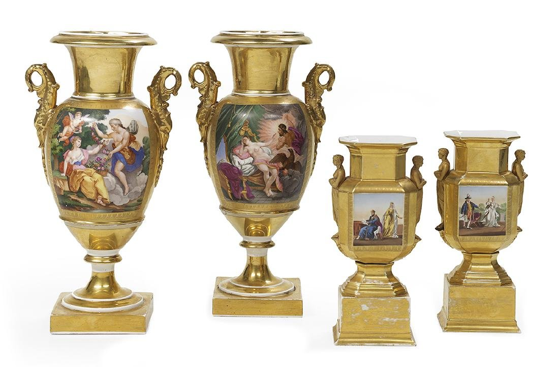 Two Pairs of Paris Porcelain Urns