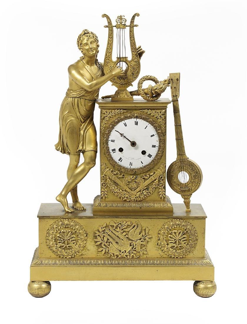 French Empire Gilt-Bronze Figural Mantel Clock