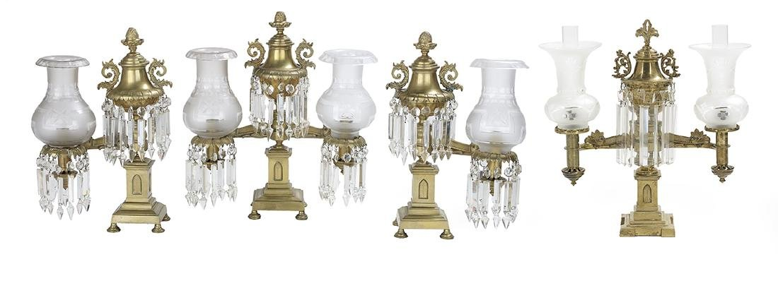 Four Argand Lamps, attr. to Cornelius & Co.
