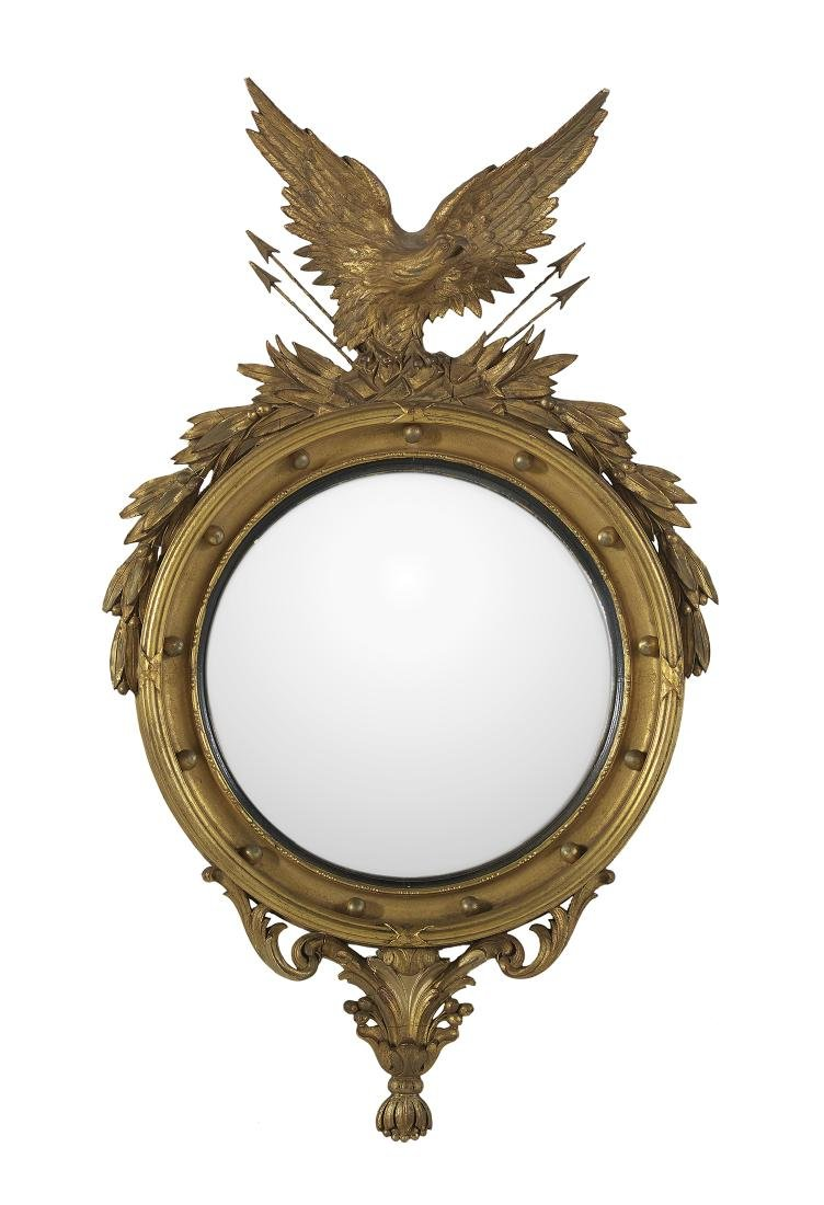 American Classical-Style Giltwood Convex Mirror