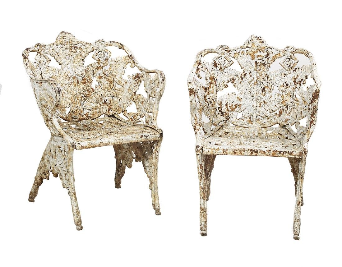 Pair of Antique Cast Iron Garden Chairs