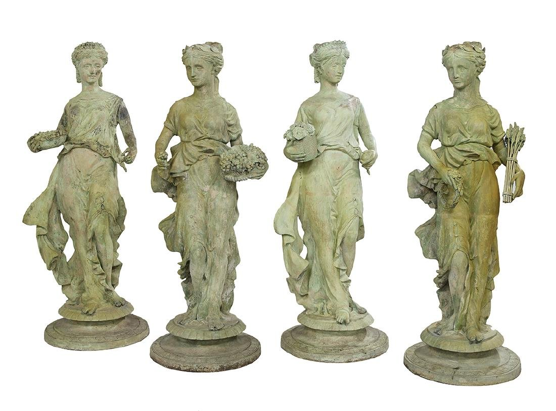 Set of Four Bronze Garden Figures of the Seasons