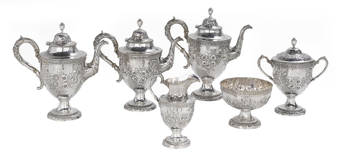 Six-Piece Philadelphia Coin Silver Tea Set