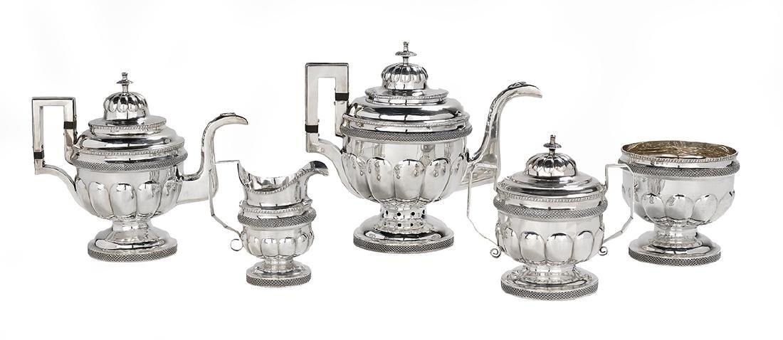 Five-Piece Philadelphia Coin Silver Tea Set