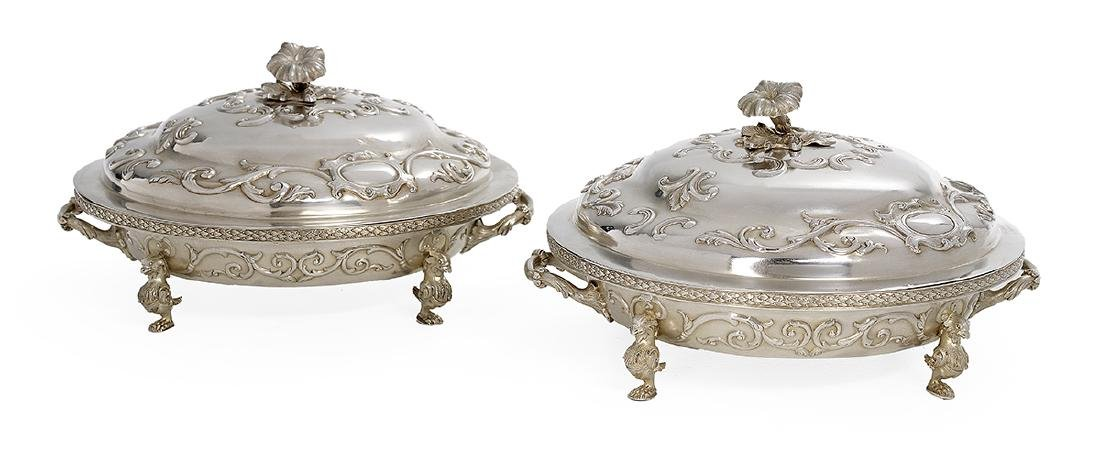 Good Pair of American Coin Silver Entree Dishes