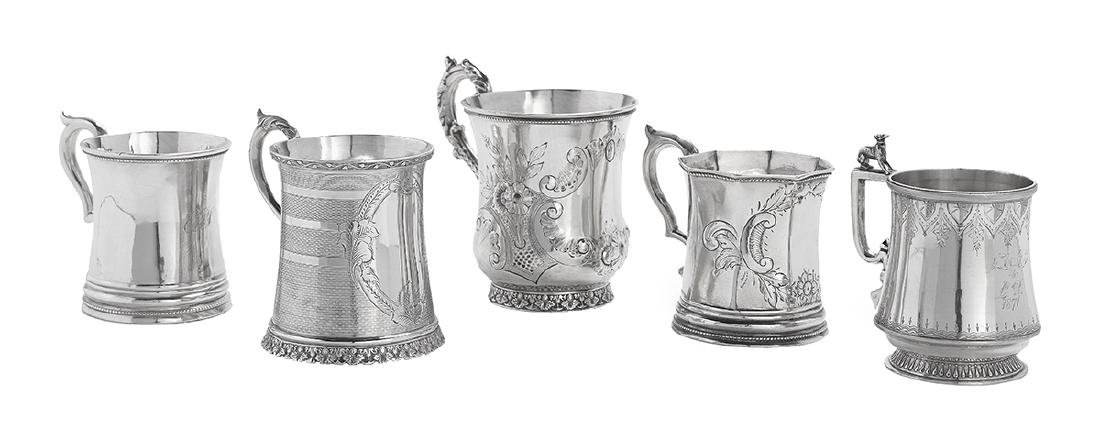 Five New Orleans and Richmond Coin Silver Mugs