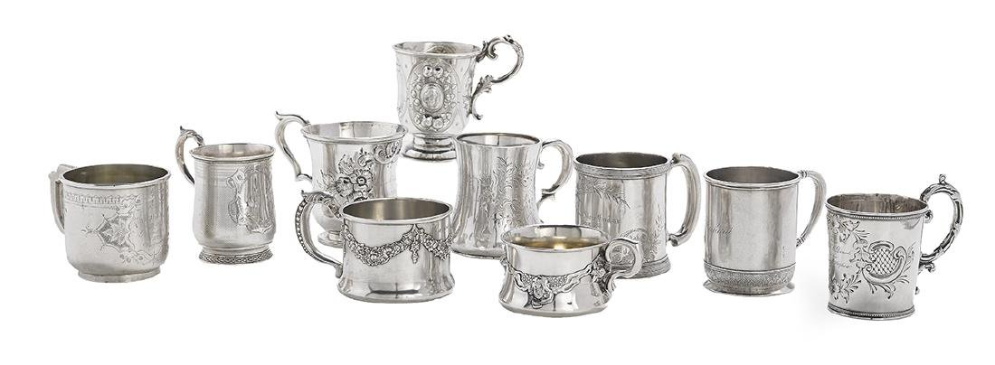 Ten American Coin and Sterling Silver Mugs