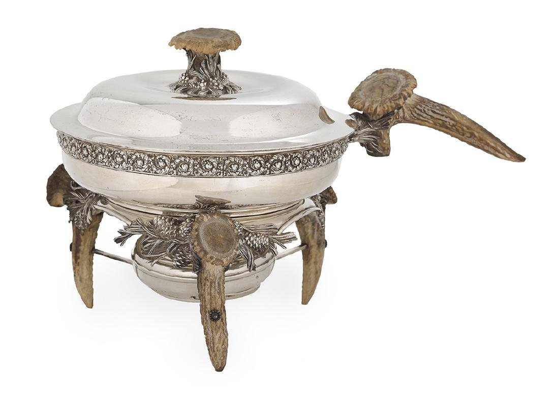 """Tiffany Silver & Antler """"Pine Cone"""" Chafing Dish"""