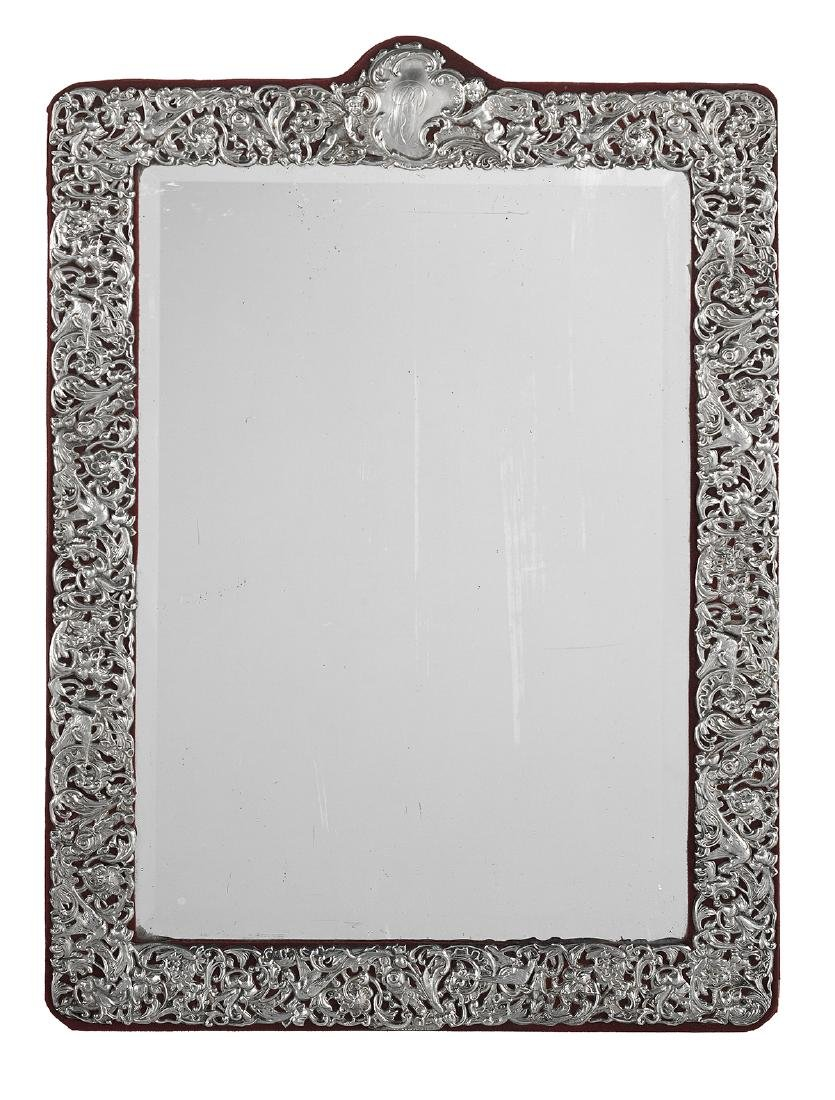 American Sterling Silver-Mounted Wall Mirror