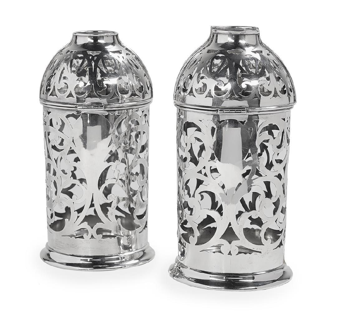 Pair of Sterling Silver Bottle Holders