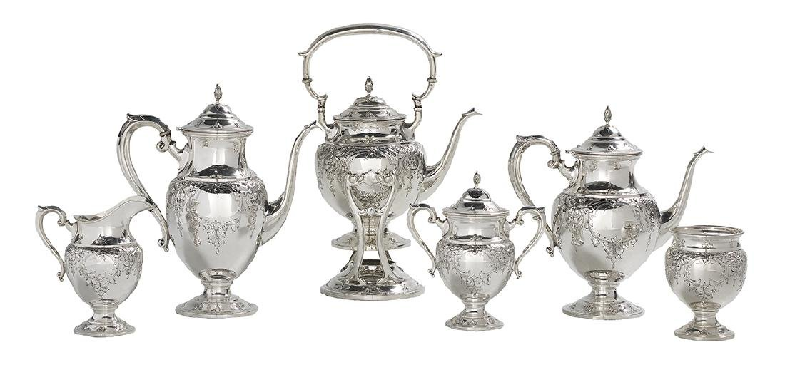 "Six-Piece ""St. James"" Sterling Silver Tea Set"