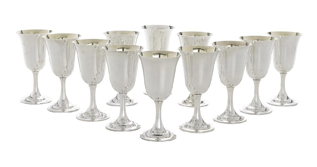 "Twelve  ""Lord Saybrook"" Silver Water Goblets"