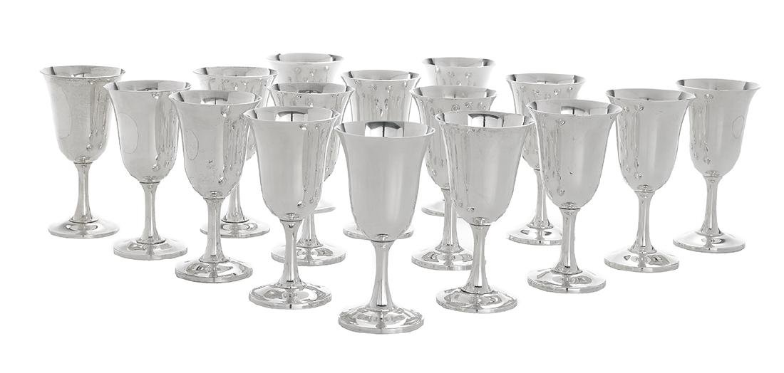 Sixteen Wallace Sterling Silver Water Goblets