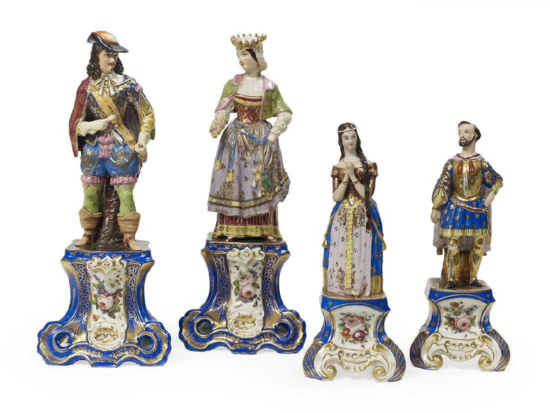 Two Pairs of Paris Porcelain Mantel Figures