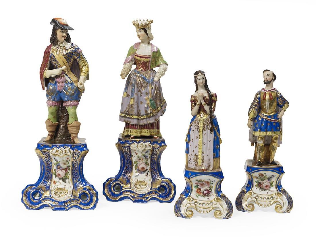 Two Pairs of Paris Porcelain Mantel Figures