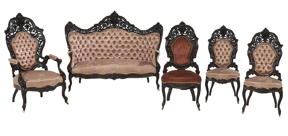 Four-Piece American Rosewood Parlor Suite