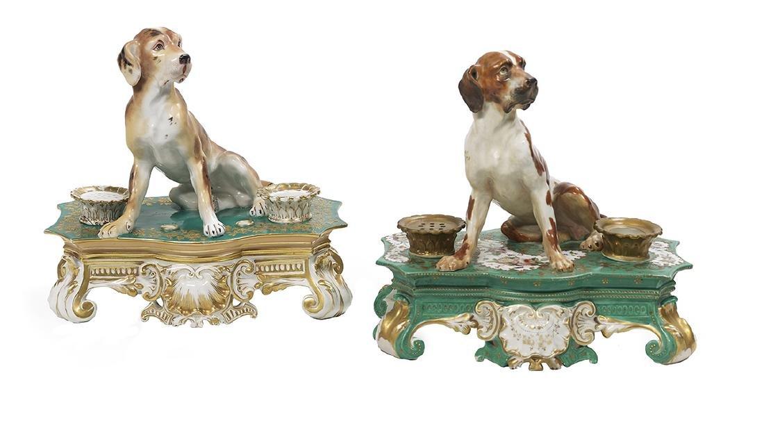 Two Similar Signed Jacob Petit Porcelain Encriers