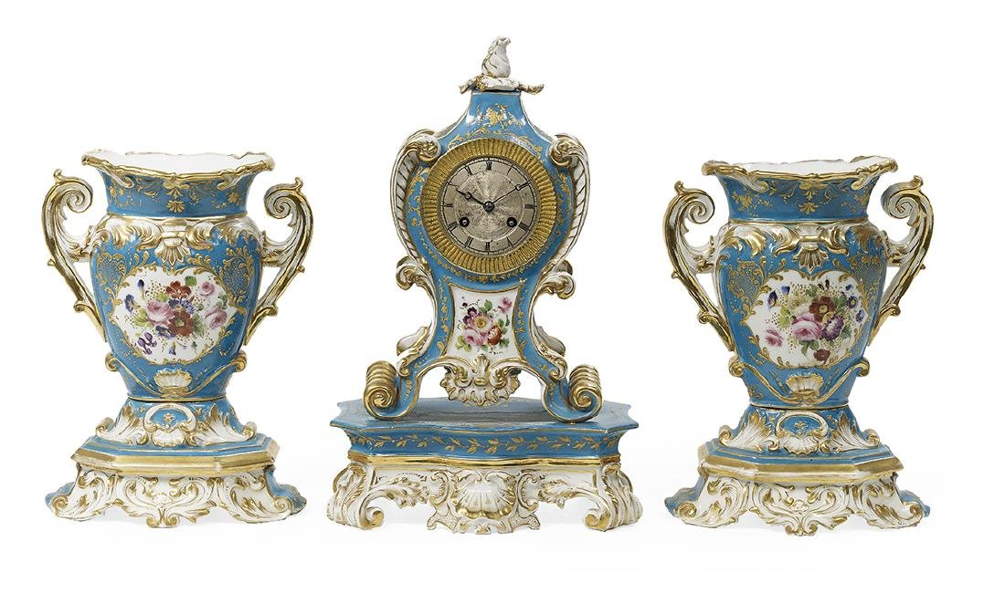 French Rococo Revival Paris Porcelain Clock Set