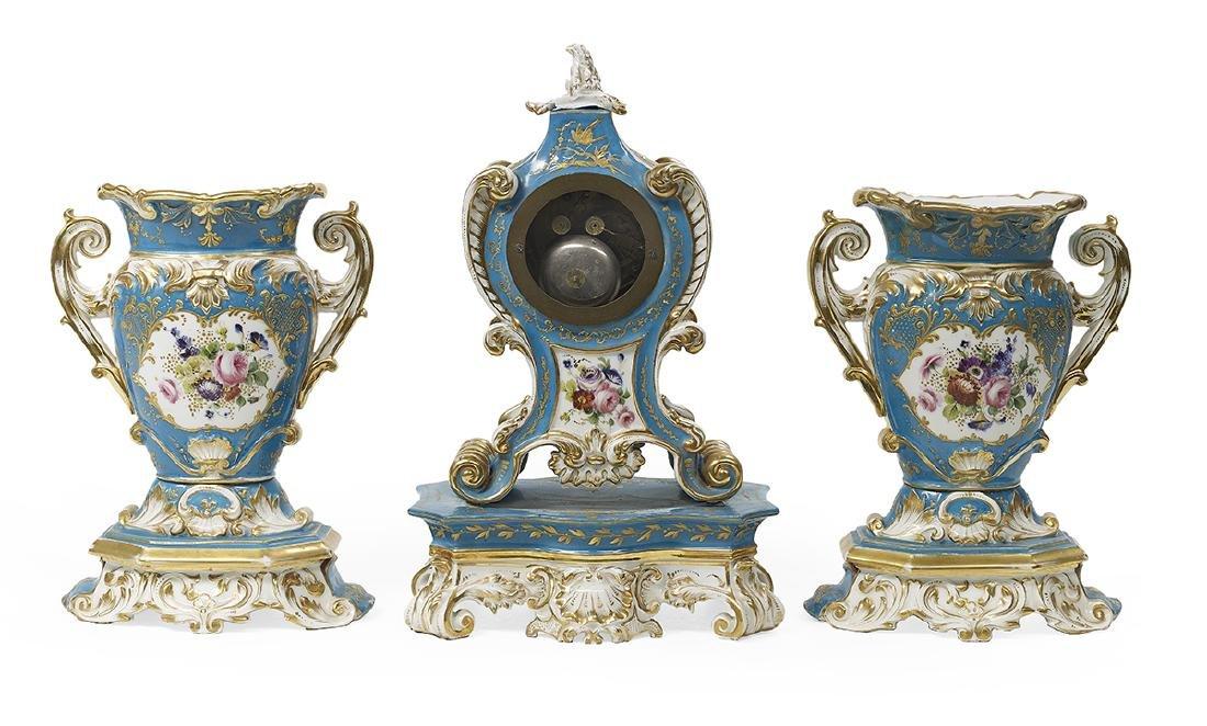 French Rococo Revival Paris Porcelain Clock Set - 2