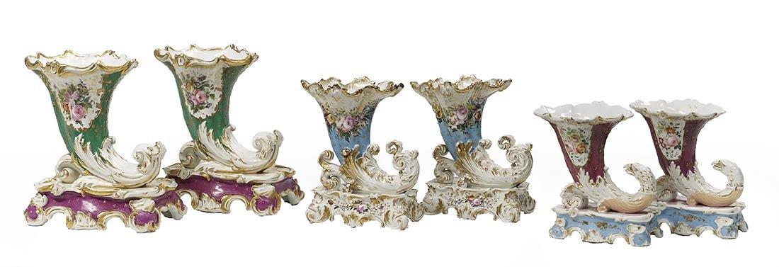 Three Pairs of Paris Porcelain Garniture Vases