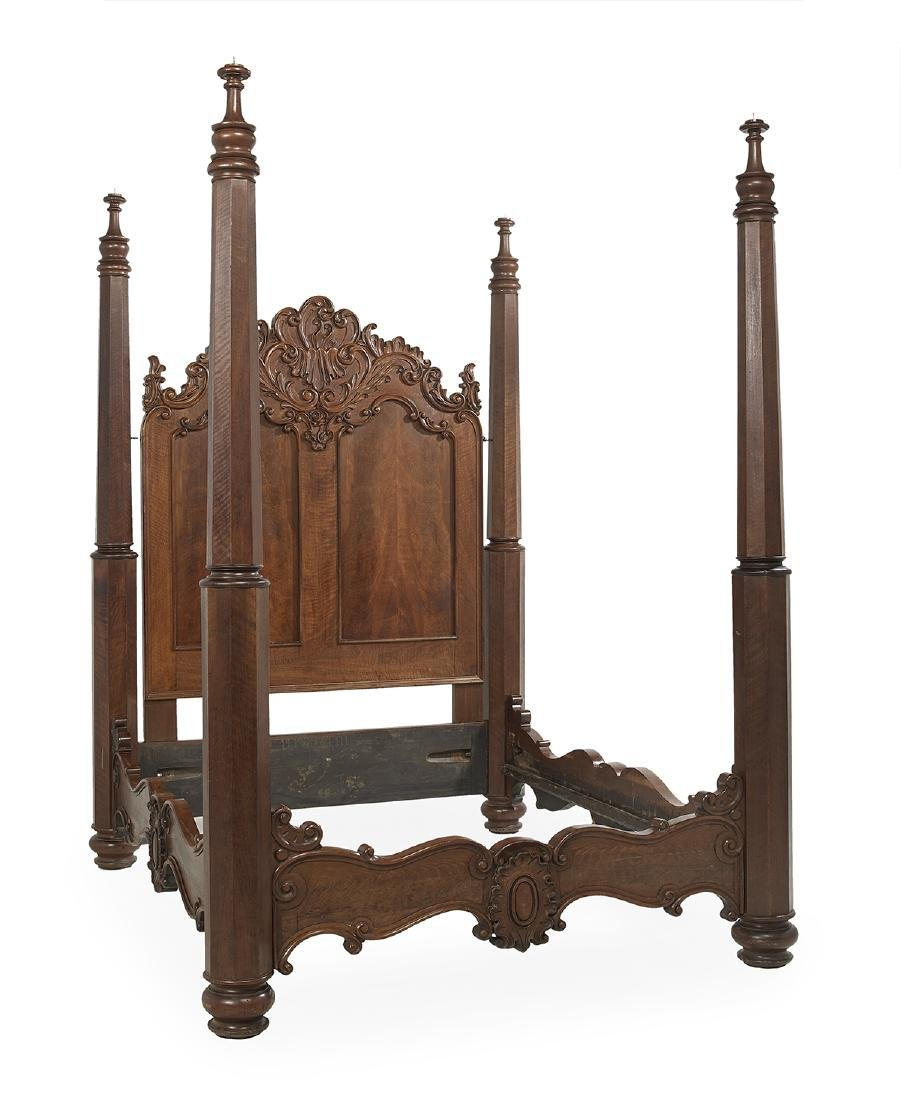 American Rococo Revival Walnut Four-Post Bed