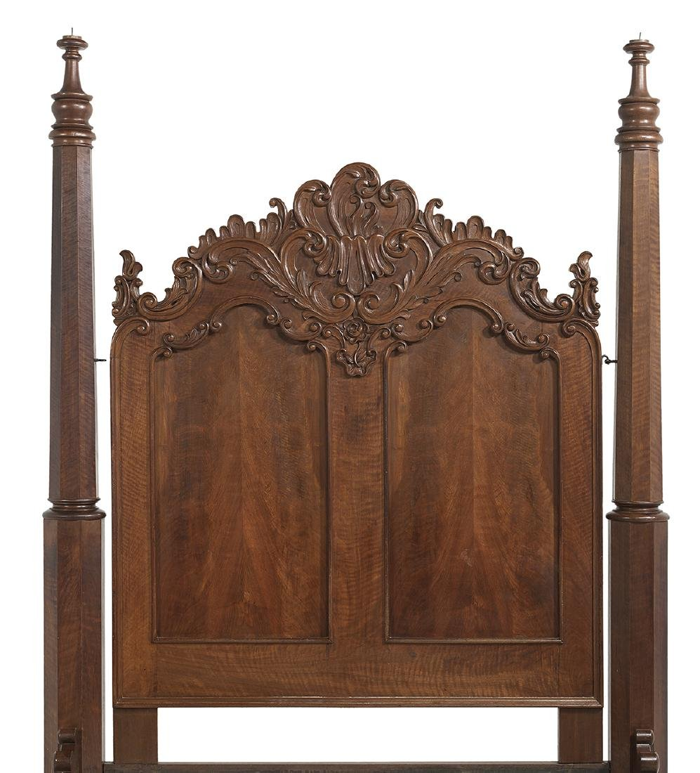 American Rococo Revival Walnut Four-Post Bed - 2