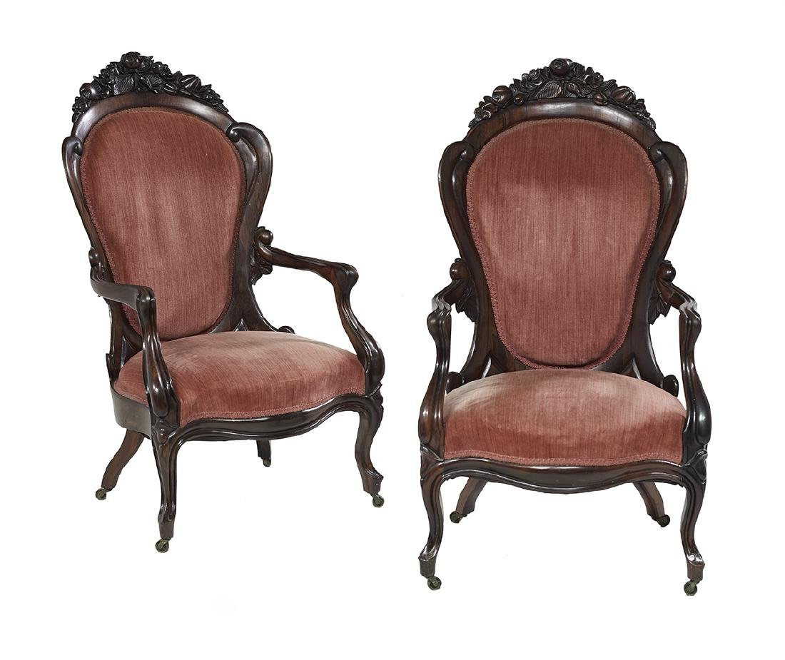 Pair of American Laminated Rosewood Armchairs