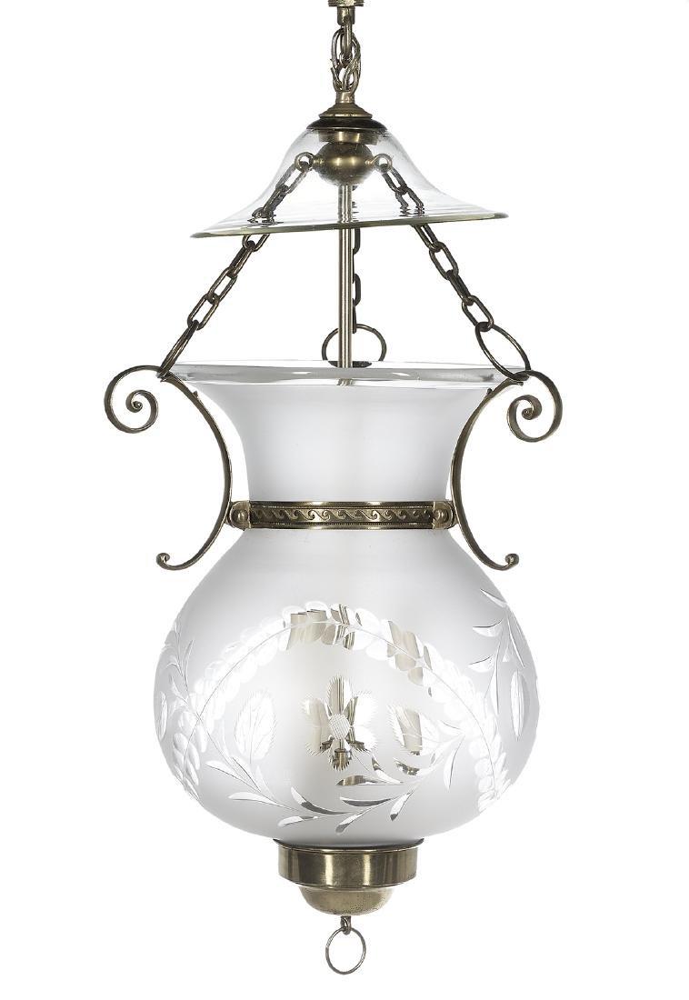 American Brass and Glass Hanging Hall Lantern