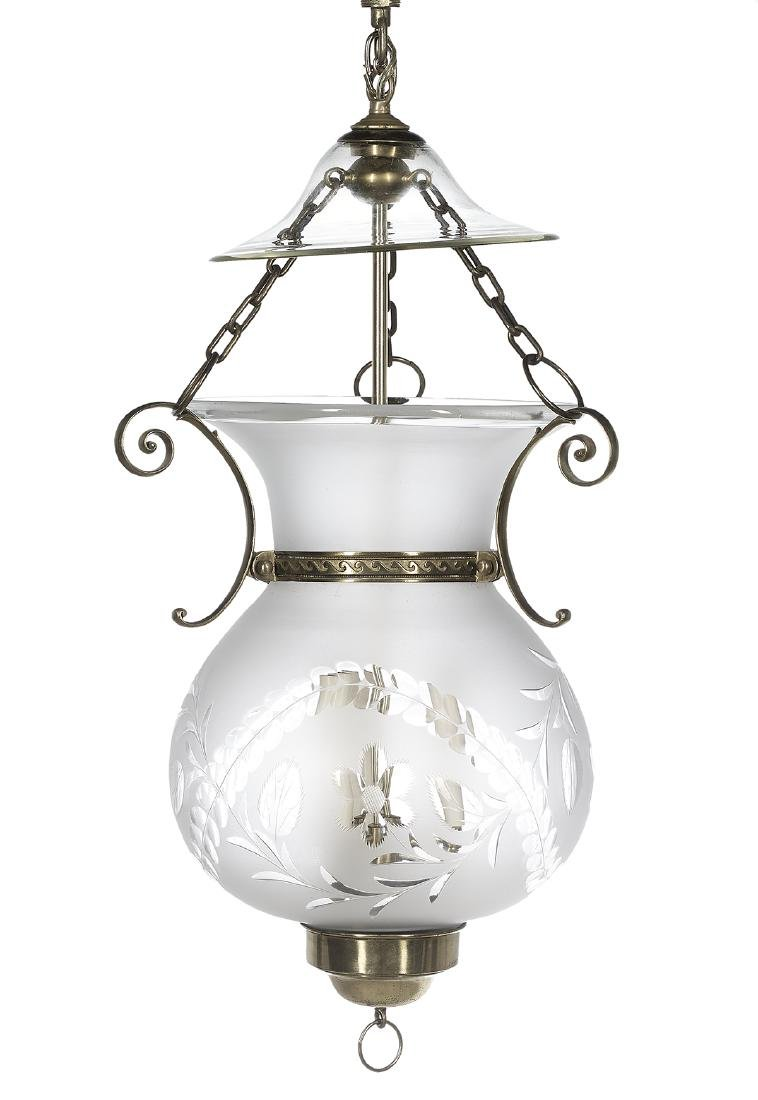 American Brass and Glass Hanging Hall Lantern