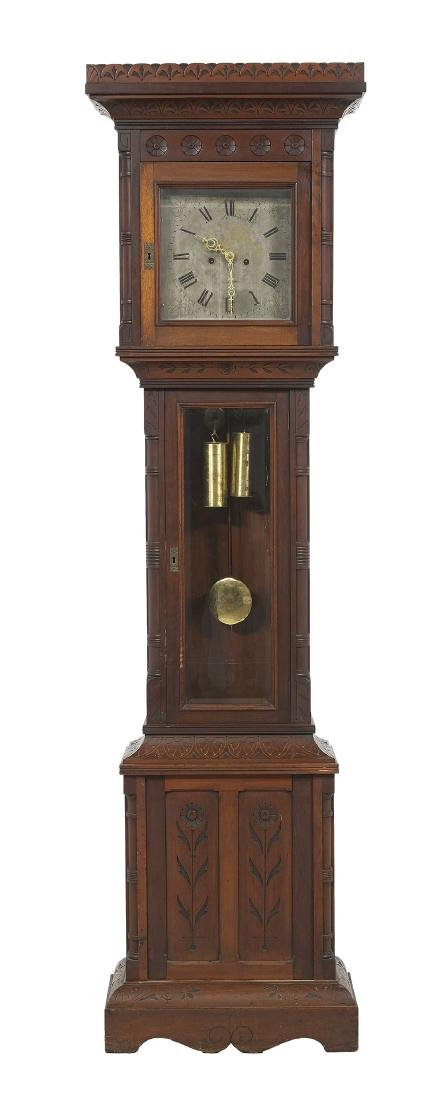 American Carved Walnut Tall Case Clock