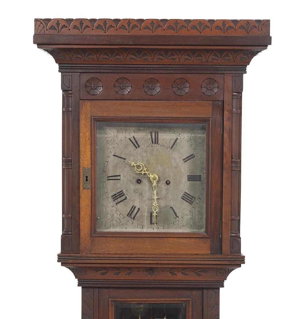 American Carved Walnut Tall Case Clock - 2
