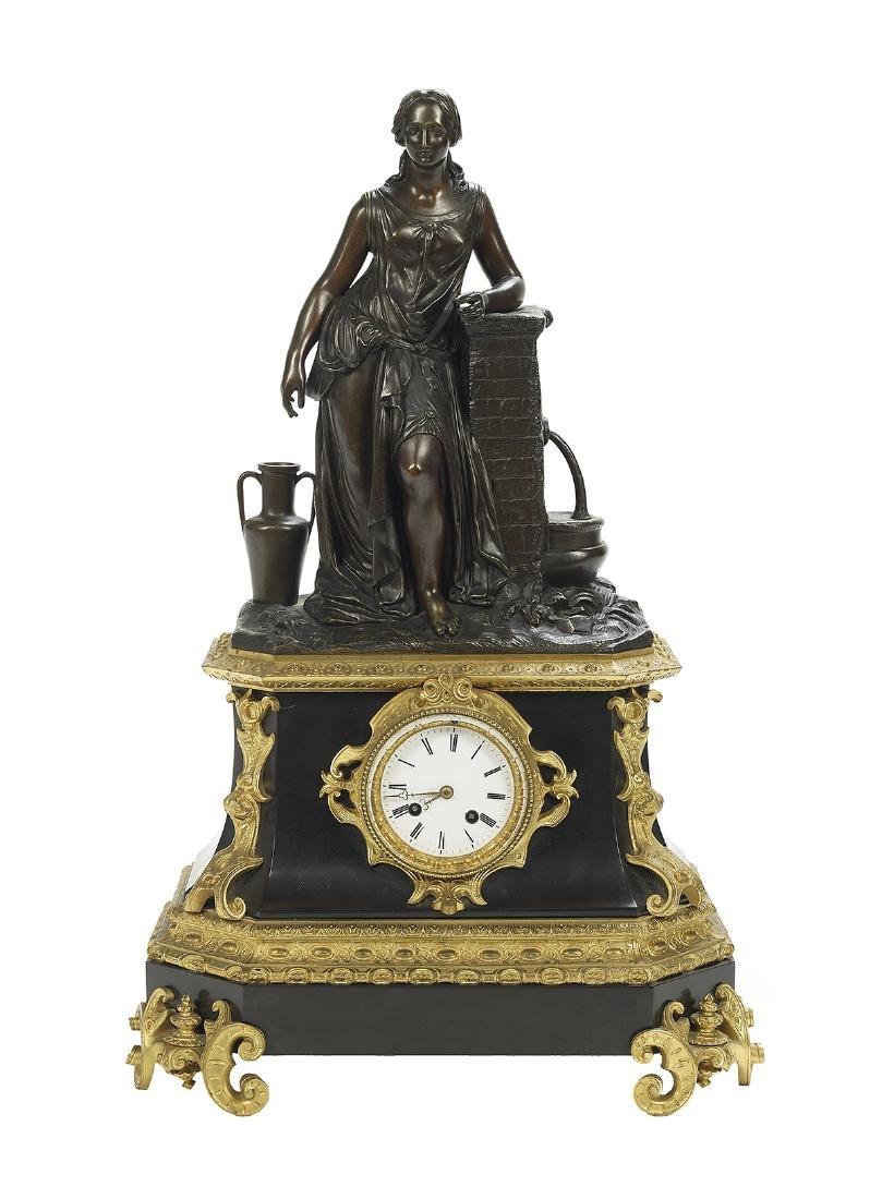 Napoleon III Bronze and Marble Clock